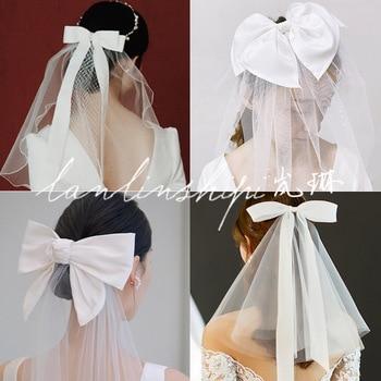 2020 Summer New Bridal Headdress Bow Veil Hair Clip Wedding Accessories Wholesale - discount item  29% OFF Wedding Accessories