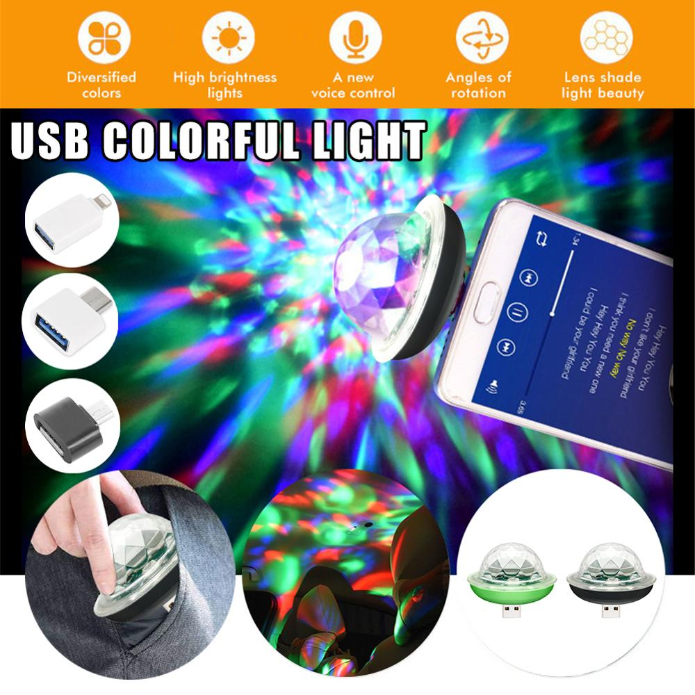 Mini USB Sound Control Party Lights Disco Light RGB Magic Crystal Ball Stage Light Effect