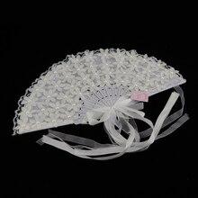 Folding Fan White Lace Fan - Handheld Folded Fan Bridal Dancing Props Church Wedding Gift Party Favors Home Office DIY Decor