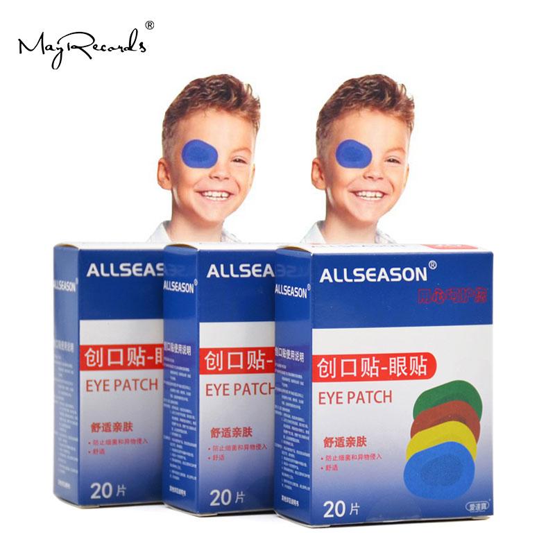 O envio gratuito de 60 pces/3 caixas colorido respirável olho remendo banda aid médico estéril olho almofada adesivo ataduras kit primeiros socorros