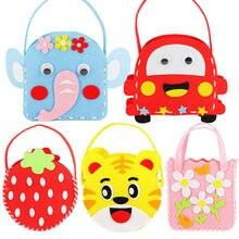 Bricolage Mini vêtement en tissu non tissé tissu sac à main enfants couture jouets sac tissu coloré à la main dessin animé Animal enfants sacs à main cadeau