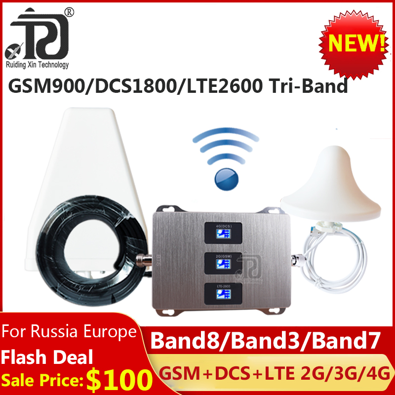Tri-Band 900/1800/2600mhz 4G Cellular Signal Booster Cellular Amplifier репитер Gsm 2g 3g 4g DCS LTE GSM Mobile Signal Repeater