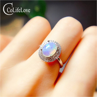 CoLife Jewelry Opal Ring for Daily Wear 7mm*9mm Natural White Opal 925 Silver Opal Jewelry Fashion Silver Gemstone Ring
