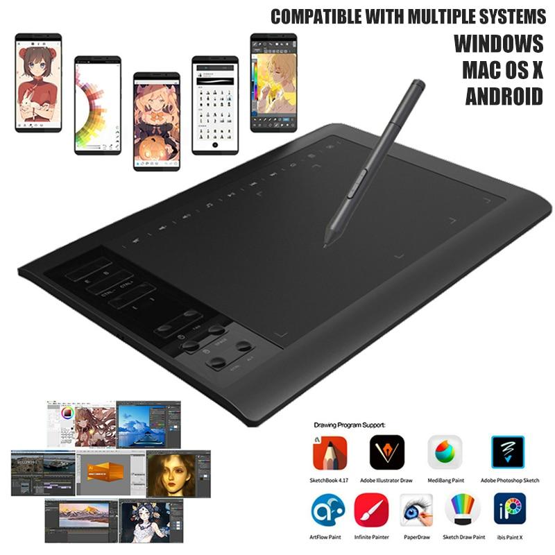 Neue Stift 10 ''x 6'' Monitor Kunst Digitale Tablet Grafik, Zeichnung, Tablet 8192 Ebenen Für Windows XP/7/8/10 32/64bit System Android 4,0