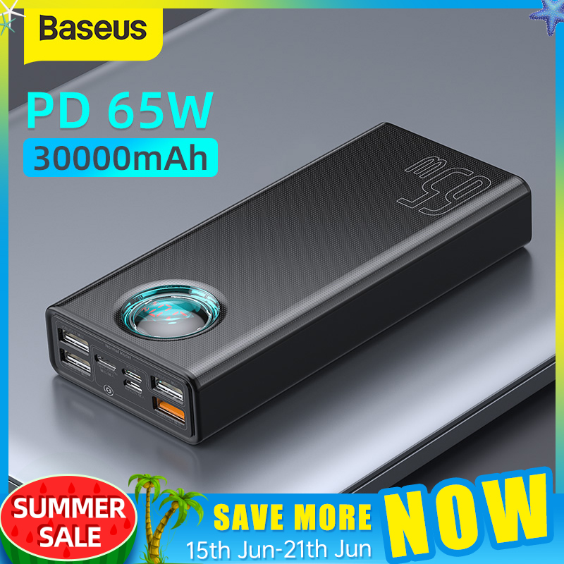 Baseus 65W Power Bank 30000mAh PD Quick Charging FCP SCP Powerbank Portable External Charger For Smartphone