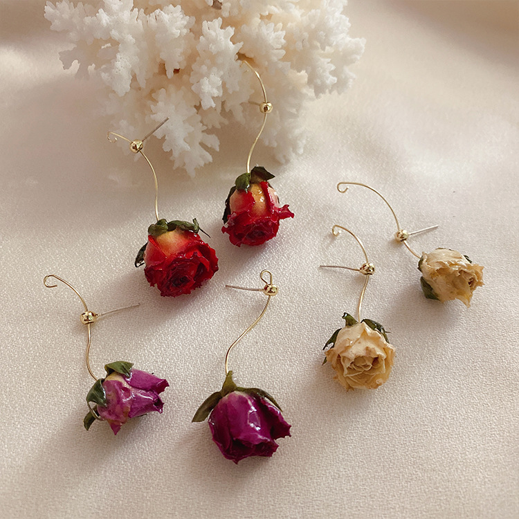 2020 Korea New Design Fashion Jewelry New Craft Eternal Flower Dried Flower Dripping Oil Elegant Female Earrings(China)