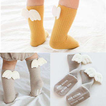 Cartoon Newborn Baby Socks  Angel wing socks Baby Girl Boy Knee Socks Cotton Toddler Infant Girls Knee High Socks cartoon animal baby knee high socks for girls infant fox socks toddler baby girl knee socks lovely totoro cat knee sock s m l