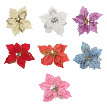 15 sztuk sztuczne świąteczne kwiaty dekoracje bożonarodzeniowe ozdoby choinkowe brokatowe złote srebrne z klipy tanie i dobre opinie NoEnName_Null CN (pochodzenie) Flower