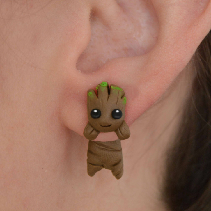 Handmade Fresh Cartoon Clay Soft Ceramics Cute Eardrop The Avengers Guardians Of The Galaxy Groot Earrings For Children Gifts