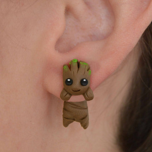 Handmade Fresh Cartoon Clay Soft Ceramics Cute Eardrop The Avengers Guardians Of The Galaxy Groot Earrings For Children Gifts(China)