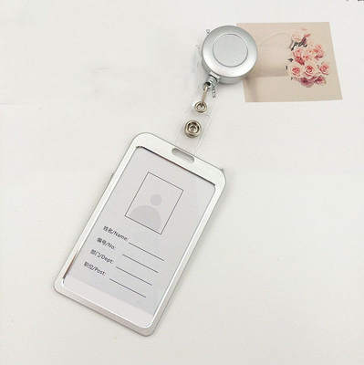 Fashion Aluminum Alloy Card Holders Women Students Retractable Badge Reel ID Card Holder Cover Case Nurse Badge Lanyards