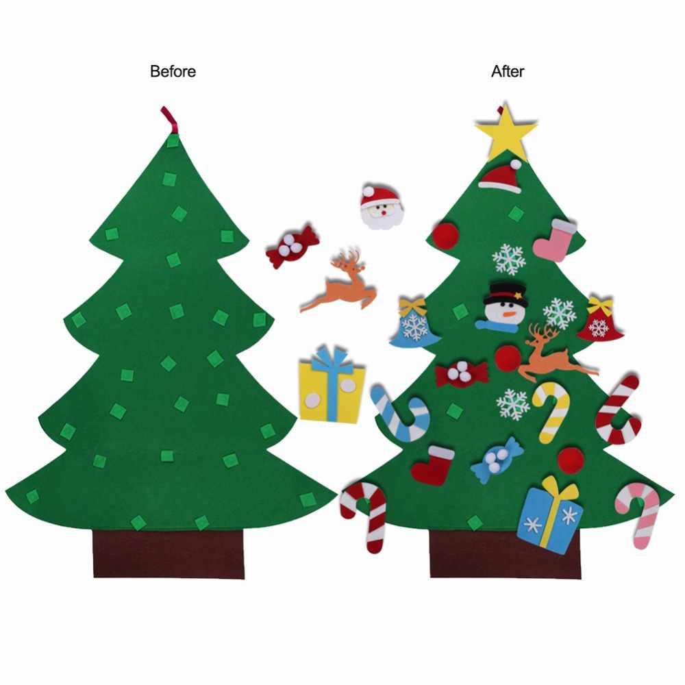 Árbol de Navidad DIY árbol de Navidad 3D fieltro niños cálido decoración de Navidad adornos de Navidad Año Nuevo regalos puerta colgante de pared