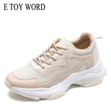 цены E TOY WORD Daddy Shoes Women's Fashion 2019 New Korean ulzzang Mesh Breathable shoes women platform Sneakers casual shoes