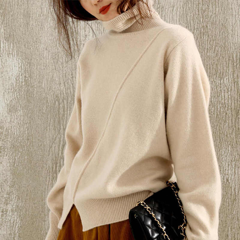 High-collar sweater woman loose wool bottom knitted sweater jacket split fashion wearing extra thick cashmere sweater woman