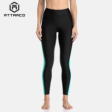 Attracko damskie spodnie z wysokim stanem spodnie capri damskie Patchwork stroje kąpielowe spodnie capri Boardshort sportowe spodnie pływackie tanie tanio attraco Solid Pasuje prawda na wymiar weź swój normalny rozmiar Polyester Spandex 3575