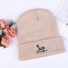 Шапка в стиле хип-хоп, дизайн, осенняя и зимняя шерстяная шапка, Модная вязаная шапка с вышитыми буквами, милые вязаные женские шапки, шапка