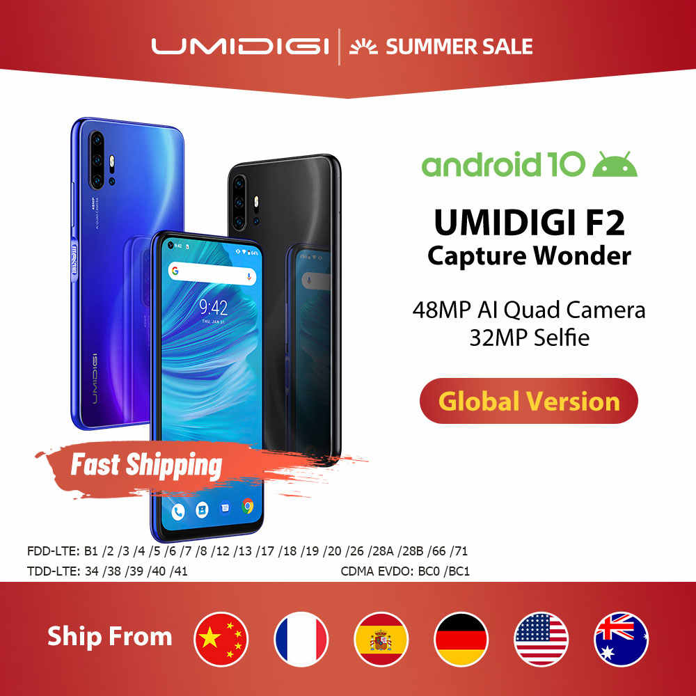 "Umidigi F2 Android 10 Global Bands 6.53 ""Fhd + 6Gb 128Gb 48MP Ai Quad Camera 32MP Selfie helio P70 Smartphone 5150Mah Nfc"