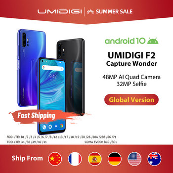 Перейти на Алиэкспресс и купить UMIDIGI F2 Android 10 Global Bands 6,53 дюймFHD + 6 ГБ 128 ГБ 48MP AI Quad Camera 32MP Selfie Helio P70 смартфон 5150 мАч NFC