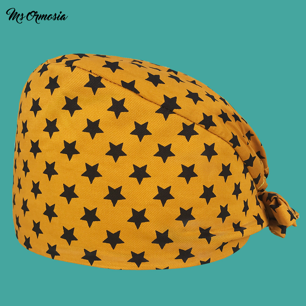 New Quality Yellow Printed Men And Women 100% Cotton Pharmacy Nurse Cap Band Elasticated Operating Room Surgical Cap Medical Hat