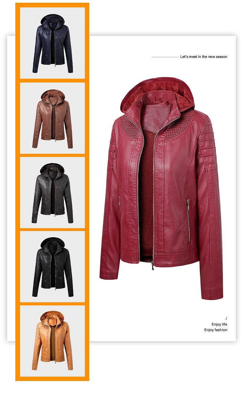 2020 جديد الشتاء المرأة بولي Leather سترة جلدية مقنعين طوق المخملية الدفء معطف الإناث سترة واقية الخريف معطف جلد المرأة S-XL