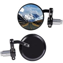 1 Pair Rear View Side Mirror Round Wide Angle Convex Motorcycle Mirror for 7/8