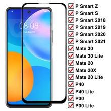 Закаленное стекло 9D для Huawei Mate 30 20 10 Lite 20X P30 P40 Lite, полноэкранная защита P Smart Z S 2020 2021, стеклянная пленка, чехол