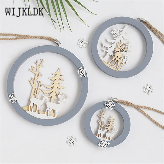 Christmas Ornaments Wooden Round Elk Pendant Christmas Decorations Hanging Christmas Tree Decoration Pendant New Year Navidad-S 14