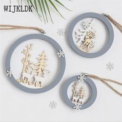 Christmas Ornaments Wooden Round Elk Pendant Christmas Decorations Hanging Christmas Tree Decoration Pendant New Year Navidad-S 3