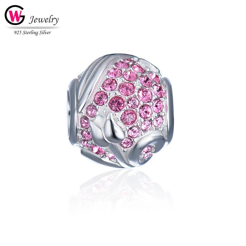 2019 925 breloque en argent Sterling pour bracelet à breloques Pandora Original bracelet étoile rose boule Zircon pierre femme perle Berloque Mujer