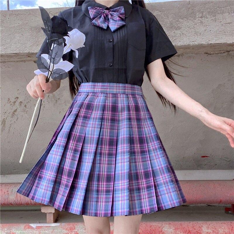 Женская обувь цвета: фиолетовый, черный готический плиссированные клетчатая юбка с завышенной талией в Корейском стиле Harajuku японский Милое...