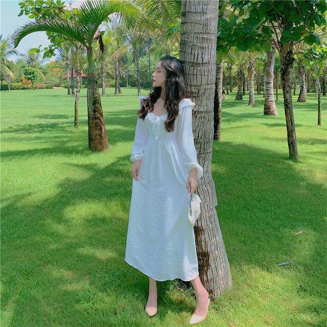 Long White Fairy Princess Dress Elegant Long-Sleeve 4