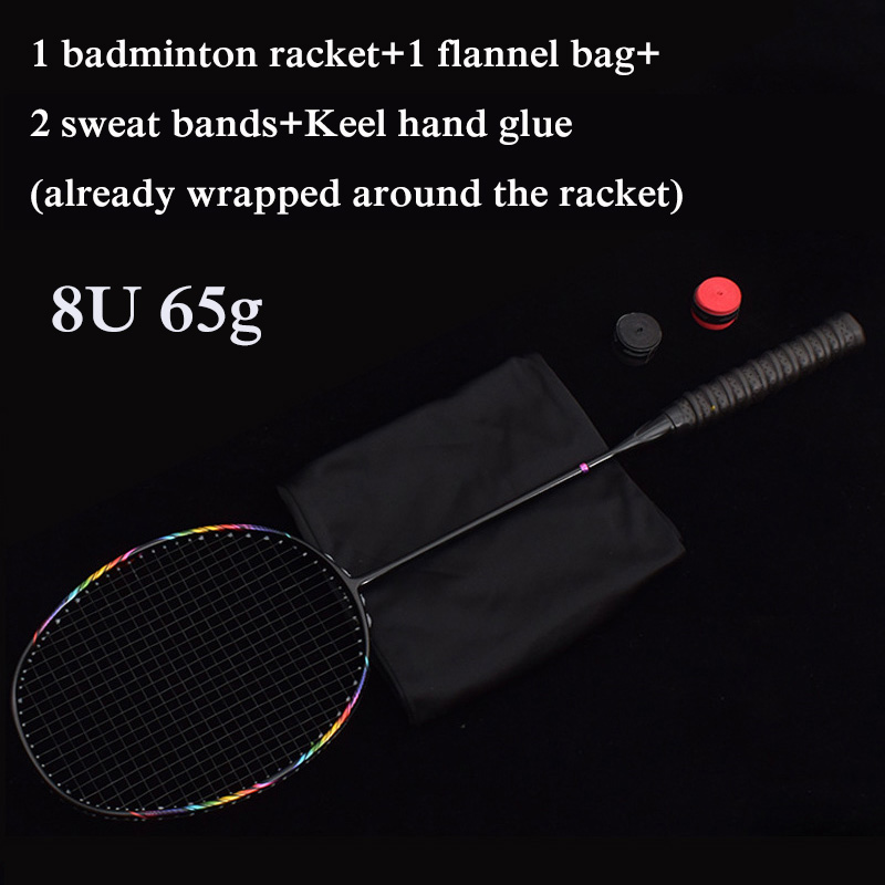 8U Professional Carbon Integrated Badminton Racket Ultra Light Multicolor Offensive Single Shuttlecock Racket For Game Training