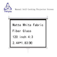 Thinyou Matte White Fabric Fiber Glass 120 inch 4:3 Self locking projector screen Manual Pull-Down Front Wall Mounted
