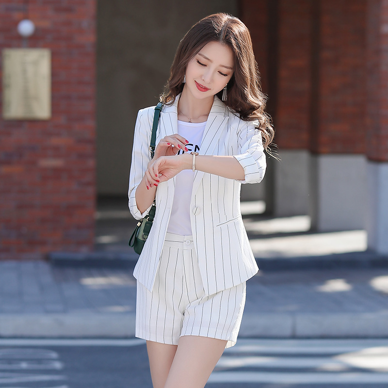 YUSHU Casual Three Quarter Sleeve Formal Blazer Femme Elegant Single Button Stripes Women Blazer Spring Summer Suit Jacket