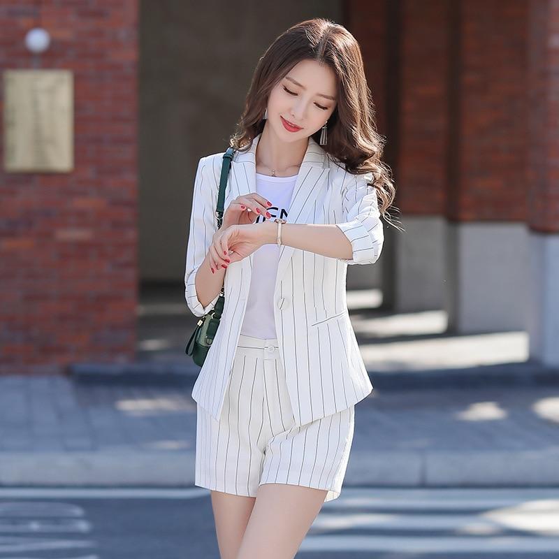 YUSHU Casual Three Quarter Sleeve Formal Blazer Femme Elegant Single Button Stripes Women Blazer Spring Summer Suit Jacket