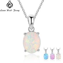 Женское 925 пробы Серебряное ожерелье с подвеской s, созданное овальное белое розовое ожерелье из голубого опала, подарки на день рождения для жены(Lam Hub Fong