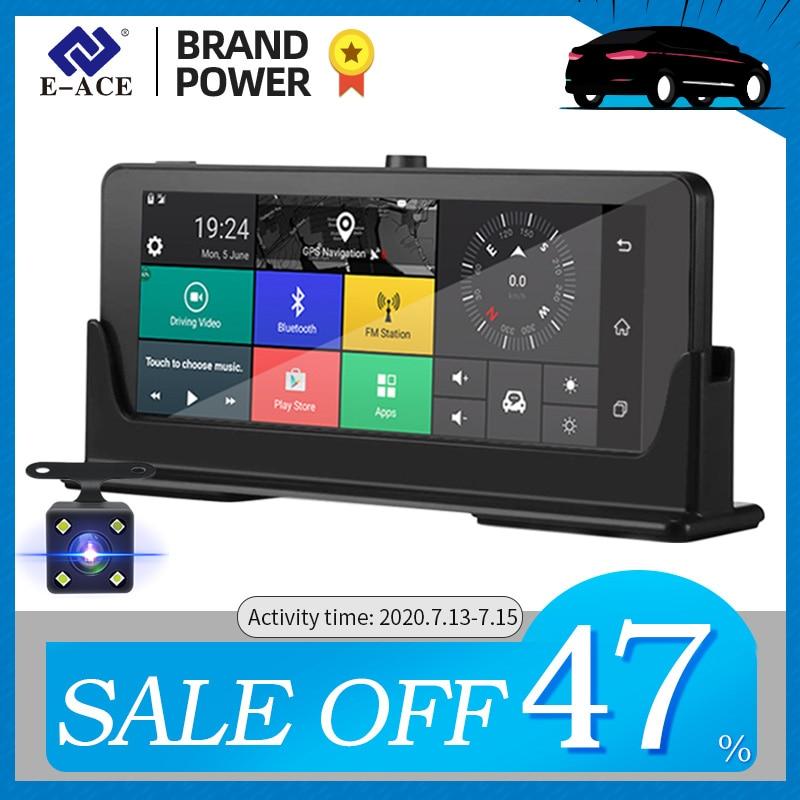 E-ACE Car DVRs 4G GPS Navigation Android Camara 7.0 Inch Rearview Mirror FHD 1080P Video Recorder Wifi Bluetooth Auto Dashcam