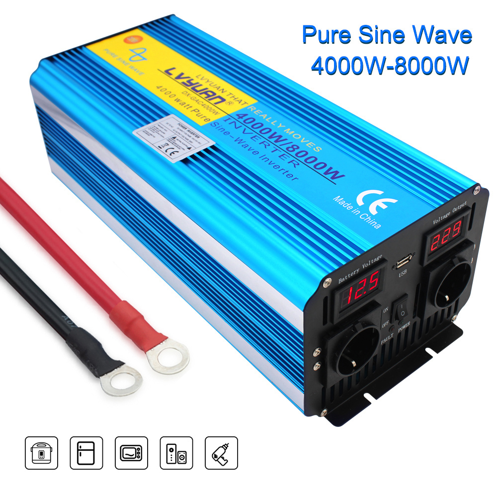 H27c3064fd77b4134a9ad3854735f3d55R - 8000W peak power pure sine wave DC 12V/24V TO AC 220V 50Hz or 60Hz solar power inverter with 3.1A USB Dual LED display EU socket