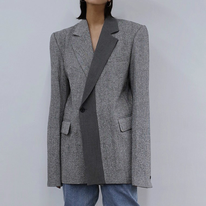 Drop Shipping Notched Collar Patchwork Women Blazer Fashion Chic Long Sleeve Pockets Single Button Loose Female Suit Jackets