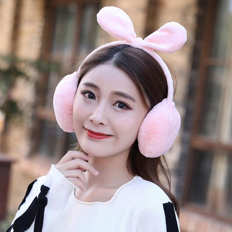 Rabbit Ears Earmuffs Winter Warn Women Cute Comfort Soft Bow Faux Fur Plush Ear Warmer Foldable Girls Pink Black Hot Earmuffs