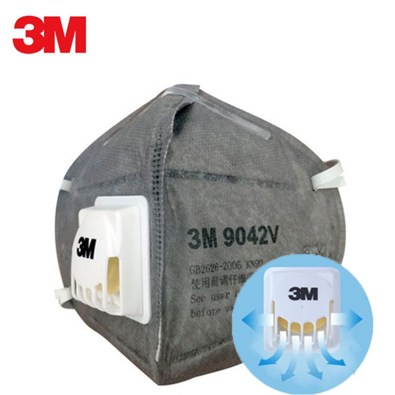3M 9042V Respirator Masks Anti Dust Flu PM2.5 Activated Carbon Filter Head-wore Breathable Cool Flow Valve Safety Face Mask