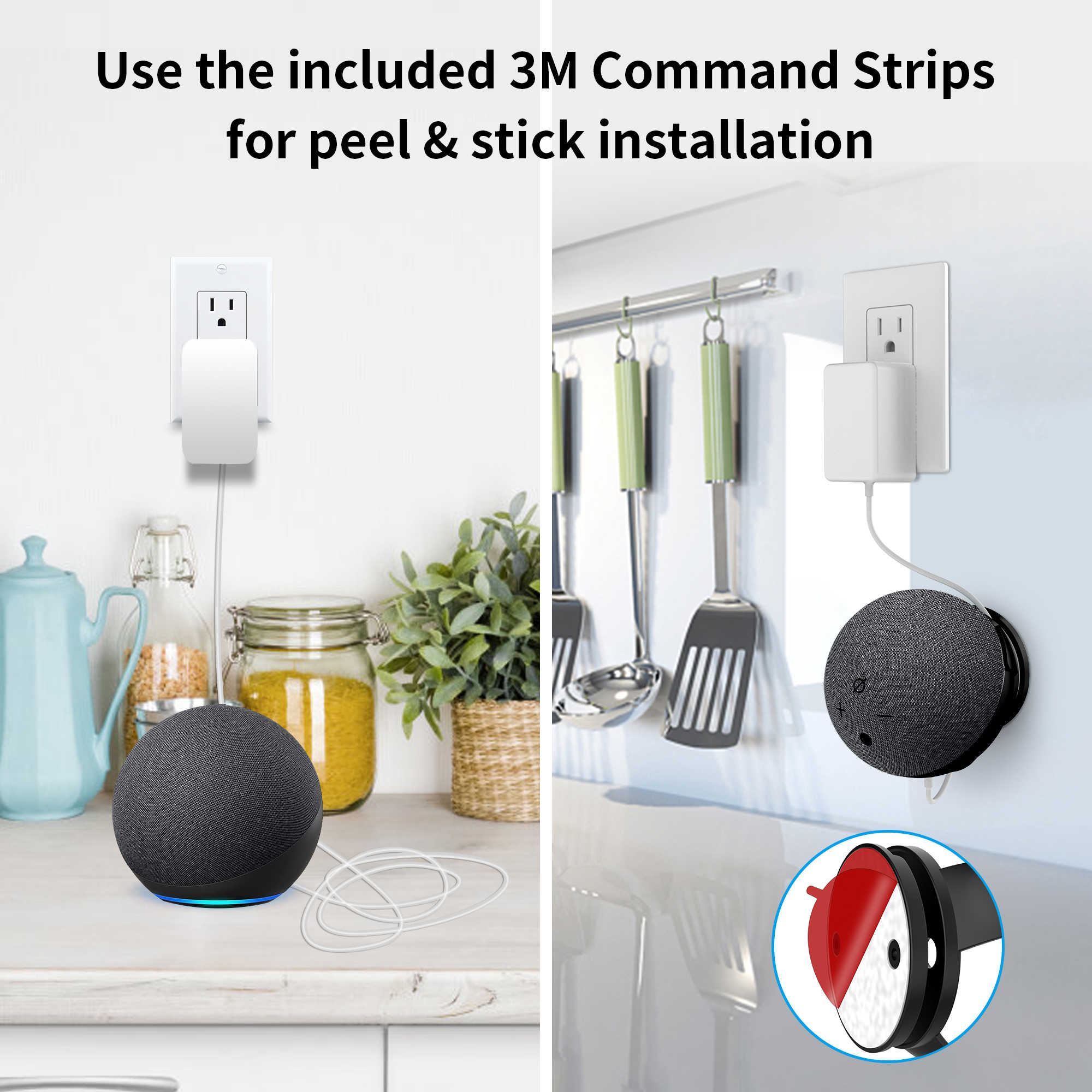 Built-in Cable Management without Screws Holder Stand Bathroom Accessories for Kitchen 1-Pack, Black Bedroom Cozycase Dot 4th Generation Wall Mount