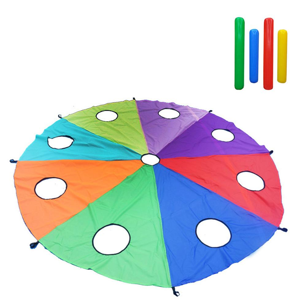Children Parachute Early Education Parent Child Training Equipment Play Parachute Outdoor Game Activities Toys With 9 Air Sticks