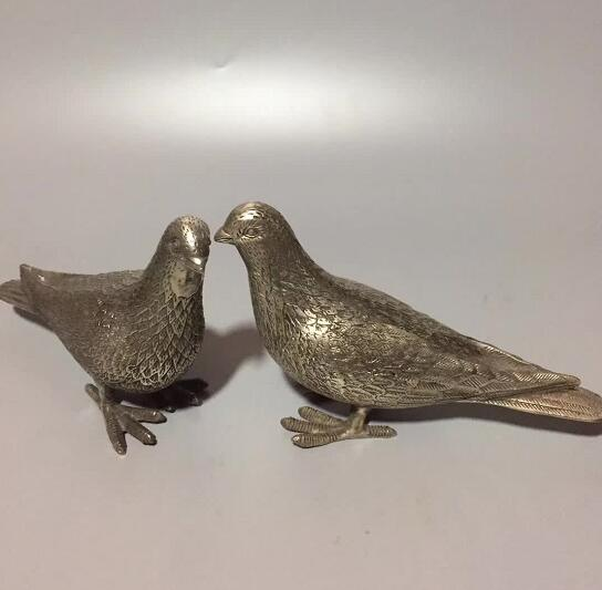Chinese Bronze Hand-carved Statue - Pigeon