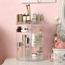 Transparent Makeup Storage Box Rotatable Cosmetic Storage Rack Desktop Skin Care