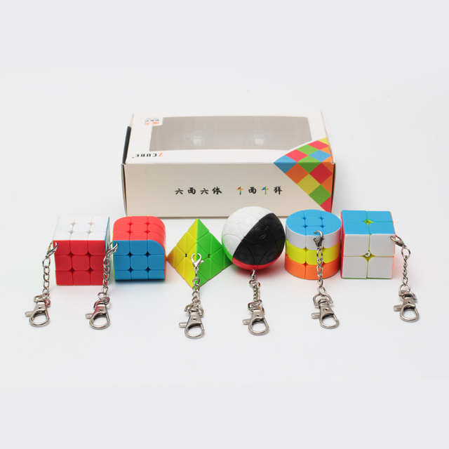 ZCUBE Bundle 6 Pieces/gift Set Pack Mini Magic Cube 2x2x2 3x3x3 Magic Ball Cylinder Key Chain Puzzle Educational Toys For Kids 5
