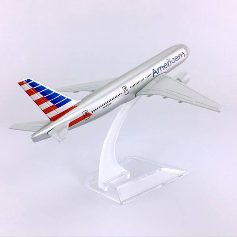 16CM Scale 1/400 Boeing B777-200 Model American Airplane With Base Alloy Aircraft Plane Collectible Display Toy Model Collection