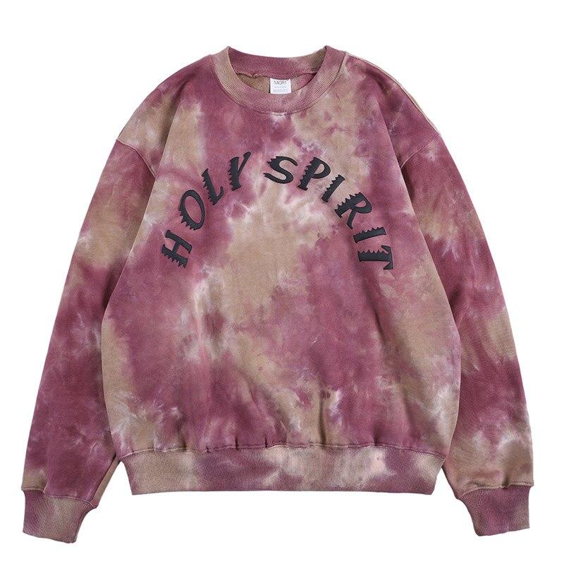 Kanye West Holy Spirit Tie Dye Mens Sweatshirt Round Neck Terry Hip Hop Hoodies Men And Women Stranger Things Oversize Hoody