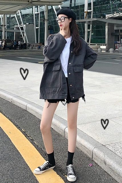 2 colors Women's casual Jean Coats 2019 autumn Women loose Denim Jacket Long Sleeve Loose Female Girls Outwear (78228) 3