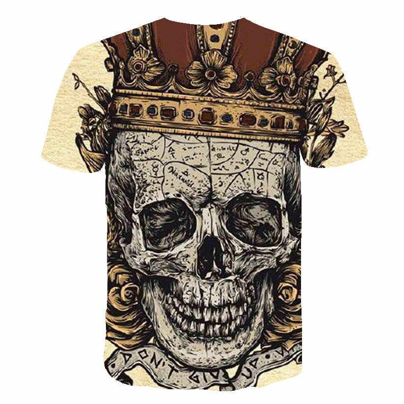 Nuovo Della Maglietta Del Cranio Delle Donne Degli Uomini di 3D Stampa Fire Skull T-Shirt Manica Corta Hip-Hop Magliette Estate Magliette e camicette t shirt Cool halloween Camicia